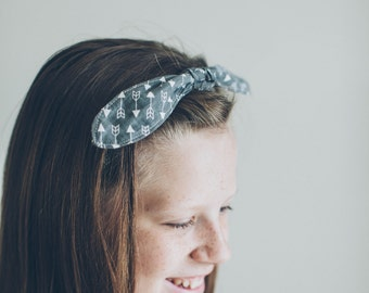 Gray Arrow Fabric Tie Headband