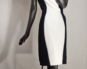 1950s Style Dress Black and White Jersey Hourglass Wiggle Sz 10
