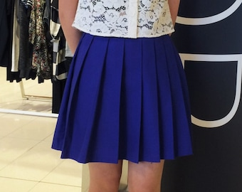Solid High-Waisted Pleated Skirt