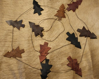 Country Leather Tree Garland