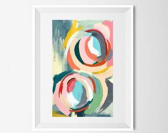 """Abstract Painting, Print. Modern Wall Art 5.5 x 8.5: """"Floating"""""""