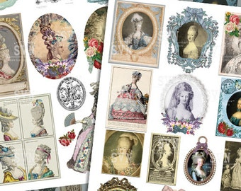 Marie Antoinette Collage Sheet - 24 different images - Digital Download - Printable - Instant Download