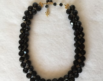 "Double strand, 14"", Vendome black jet beads"