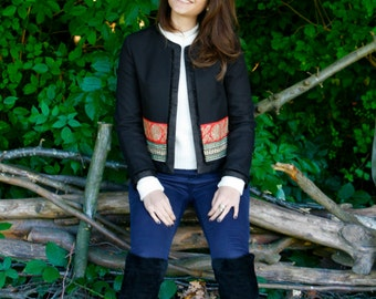 Black Jacket with decorative trims, Tailored jacket by Hanieh Fashion