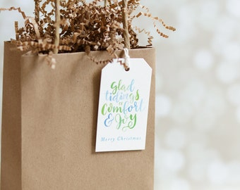 Christmas Hanging Tag - Hand Lettered Watercolor - Christmas Packaging - Glad Tidings of Comfort and Joy