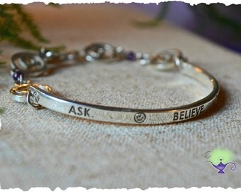 ASK. BELIEVE. RECEIVE. - Sterling Silver id bracelet w/ reclaimed silver
