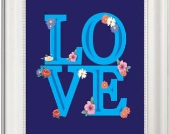 Love Prints, Love Printables, Printable Love Art, Love Artwork, Love Wall Art, Flower Prints, Printable Flower Art, flower Wall Art, Artwork