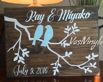 Lovebirds Wood Decor, Wedding or Anniversary Gift, Personalized, Handmade Gift for Wedding, Bridal Shower, Housewarming, Wedding Decor