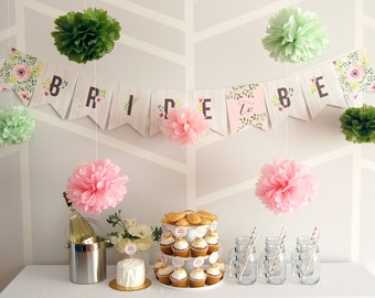 Bridal Shower Banner | customization | woodland botanical garden | pink and green