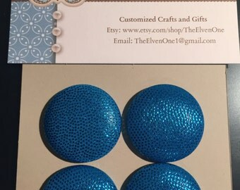 Fabric Covered Button Magnets - Blue Shimmer and Sparkle
