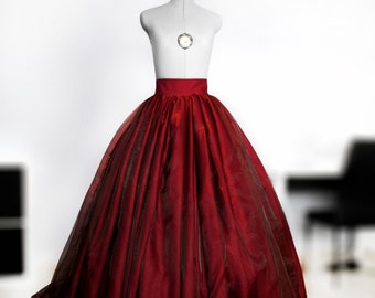 Dark red organza ball gown skirt Full wedding gown Satin bridal skirt Maxi prom skirt Princess gown Puffball Crinoline underskirt Lace gown