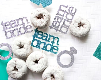 12 Engagement Party Team Bride Cupcake Toppers // Bachelorette Party // Wedding Decor // Wedding Toppers //  Team Bride // Bride To Be