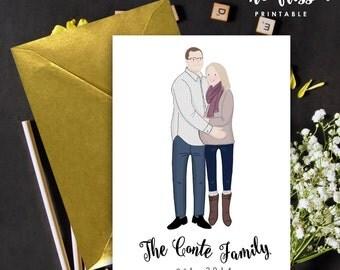 Pregnancy Announcement Card | Couple Portrait | Illustrated Portrait