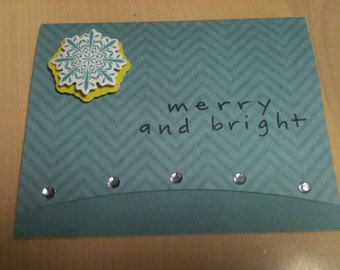 Blue snowflake Christmas card
