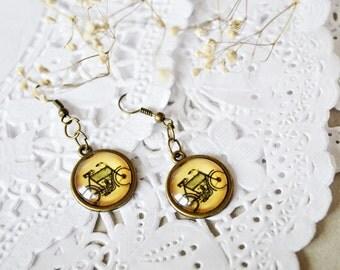 Boho earrings bicycle earrings gift for sister gift for mum christmas gift