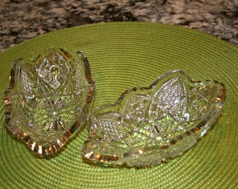 1800s Minnesota-Gold Oval Bowls//By US Glass Company ca. 1898//Part Of State Series//Antique Oval Bowls