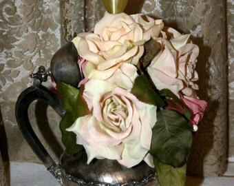 Silver PlateTeapot Floral Vase With Light//Shabby Chic Decor//Silver Plate Teapot Lamp//Vintage Teapot Flower Vase With Light