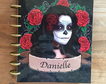 Personalized Sugar skull happy planner front and back cover / happy planner cover / planner supplies / planner accessories / day of the dead