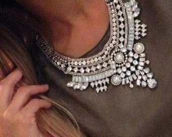 Crystal Choker Chunky Bib Statement Necklace, Crystal Rhinestone Pendant Necklace
