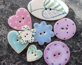 8 Assorted Easter Buttons, Ceramic Button Mix, Handmade Buttons, Spring.
