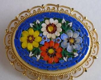 Micro Mosaic Blue Floral Italian Brooch, circa 1960's, Vintage