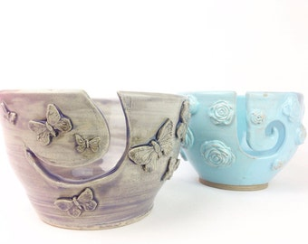 Yarn Bowl - Butterfly Yarn Bowl - Purple Yarn Bowl - Knitting Bowl