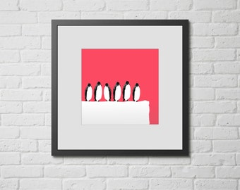 "Modern Wall Art, Mid Century Art, Abstract Print, Penguin Art, Ice Art, Arctic Art, Pink Art, Colorful Art, ""Pink Penguins"""