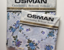 1960s/70s Osman Blue Roses Flat Sheet & Pair of Pillowcases - Unused in Original Packaging