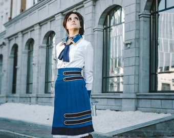 BIOSHOCK INFINITE Elizabeth pintucked skirt game cosplay costume+choker+bow handmade