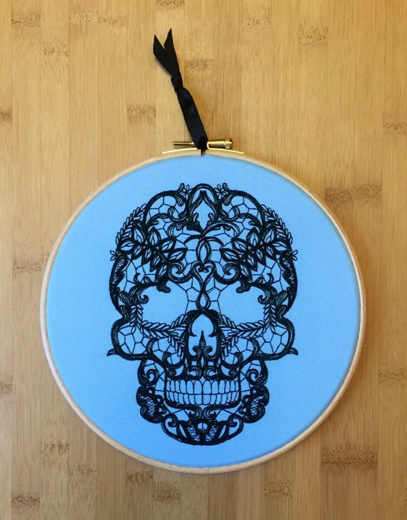 Black lace tattoo skull embroidery hoop art by