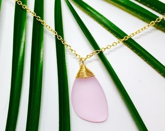 Hawaiian Pink Wire Wrapped Sea Glass Pendant ~ Pink Beach Glass Pendant ~ Wire Wrapped Stone ~ Recycled Beach Glass Necklace