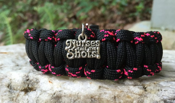 """Nurses or R.N. Paracord Bracelet, medical themed,  with what we all know """" Nurses call the Shots"""""""