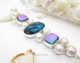 Blue Topaz Quartz Titanium Drusy Fresh water Pearl Sterling Silver Bracelet