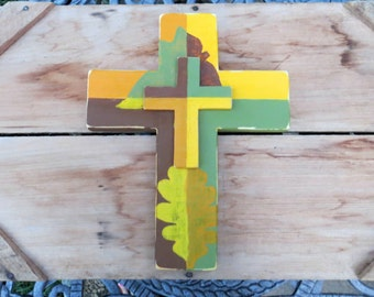 Orange Cross, Yellow Cross, Green Cross, Wooden wall Cross, Painted leaves, Fall decor, Wood Cross, Rustic decor, Mosaic cross, Distressed