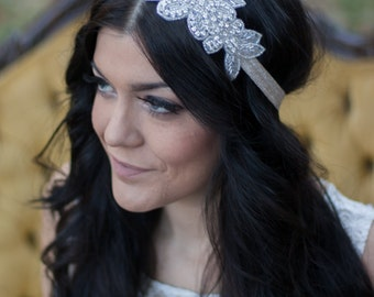 Beaded Headband, Crystal Headband, Crystal Headpiece, Bridal Headband, Bridesmaid Headband, Bridal Headpiece, Prom Headband, Bride Hairpiece