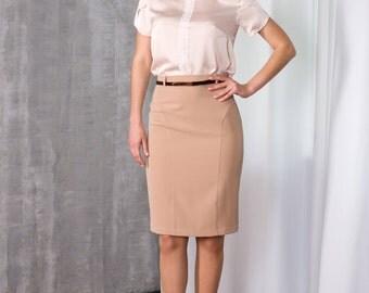 Elegant Biege Skirt by TAVROVSKA, Fitted Knee-length Pencil Skirt