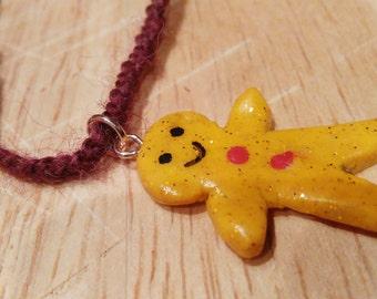 Little gingerbread man necklace