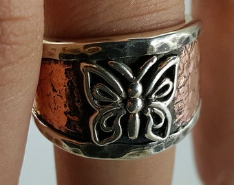 Rustic Finished Butterfly Ladies Ring