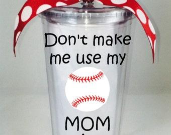 Baseball Mom Tumbler 20 oz., Baseball Mom Tumbler, Custom Baseball Mom Tumbler, Baseball Tumbler, Custom Baseball Tumbler, Baseball Mom Cup