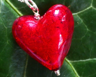Red Venetian Murano Glass Heart Necklace
