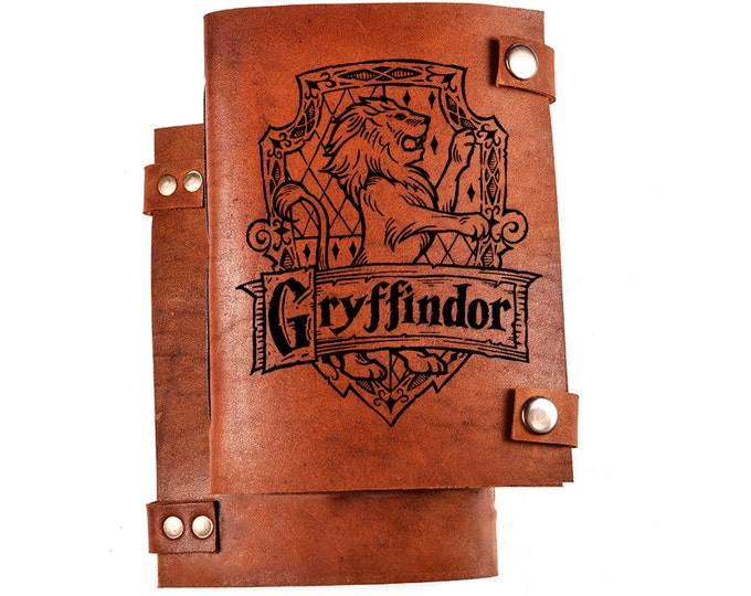 Gryffindor notebook - Harry potter notebook - gryffindor journal - harry potter diary - leather journal