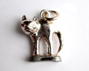 Vintage Figural Miniature Cat Kitty Silver Tone Charm Cute Teeny Tiny Itty Bitty Arched Back