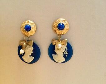 MADAME BOVARY-cameo Earrings cobalt blue