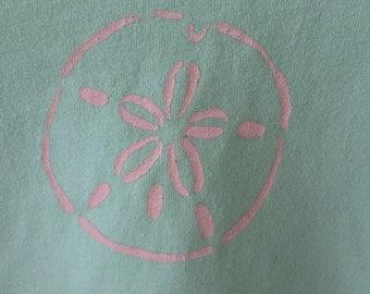 T-shirt,sand dollar stenciled on mint green Little Girls top, v-neck