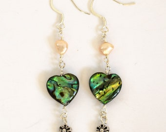 Abalone shell heart shaped earrings