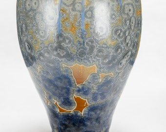 Blue and Silver Crystalline Vase