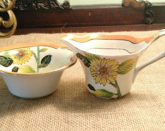 Noritake Sugar Bowl and Creamer Hand Painted with Sunflower Design Made in Japan