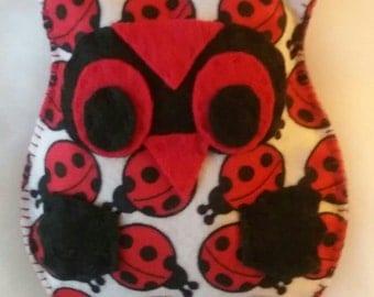 Owl Felt Plushie in Ladybug Print