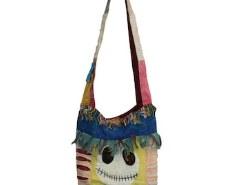 Hipster, Cross body, Sling bag, Smiley Patchwork :) Hippie and Embroidered in various color tone, Free Shipping, Handmade, Nepal