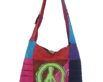 Hipster, Cross body, Sling bag, Peace, Hippie and Embroidered in various color tone, Free US shipping, made, Nepal